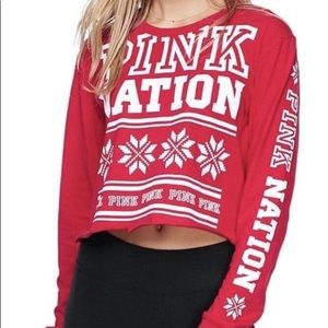 PINK Victoria's Secret Red Pink Nation Crop Top
